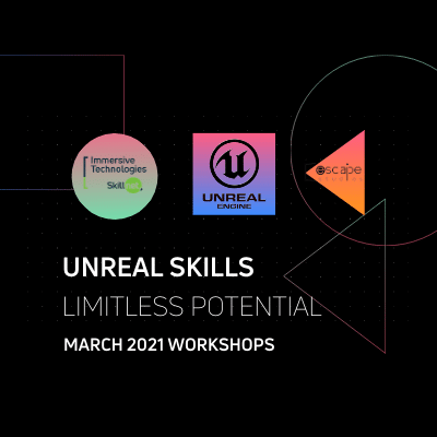 Immersive Technologies Skillnet and Unreal Engine and Escape Studios logos on black