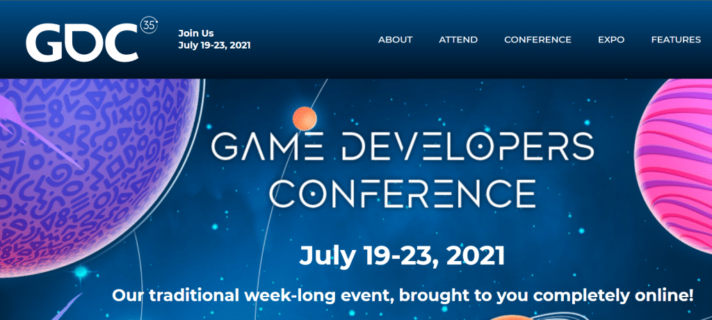 Immersive Technologies Skillnet Game Developers Conference Banner White Text on Blue Space-Like Background